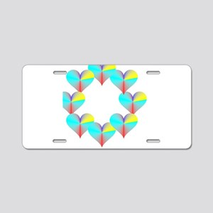 Circle of Rainbow Hearts Aluminum License Plate