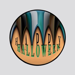 "Orange Halloween Teeth 3.5"" Button"