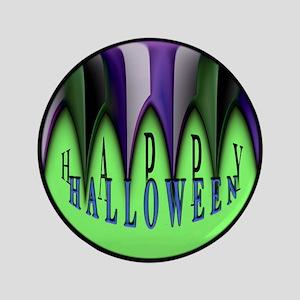 "Green Halloween Stripes 3.5"" Button"