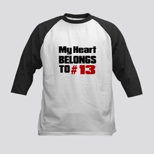 My Heart Belongs To # 13 Kids Baseball Jersey