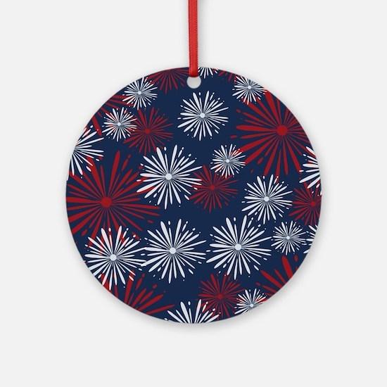 USA Fireworks Round Ornament