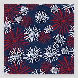"USA Fireworks Square Car Magnet 3"" x 3"""