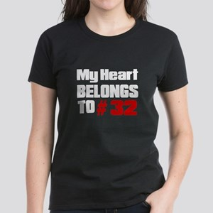 My Heart Belongs To # 32 Women's Dark T-Shirt