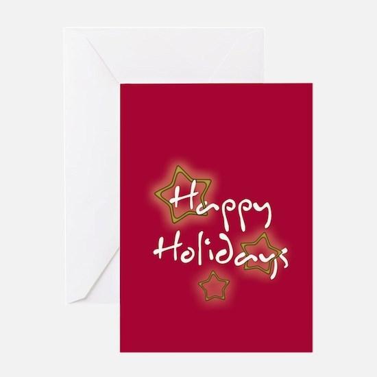 Happy Holidays Gold Stars Greeting Card