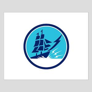Tall Sailing Ship Lightning Bolt Circle Posters
