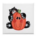 Black Cat w/Pumpkin 3 Tile Coaster