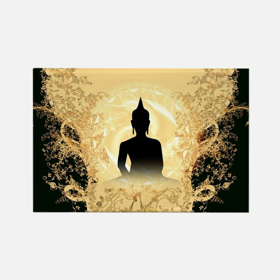 Buddha on gold black background Magnets
