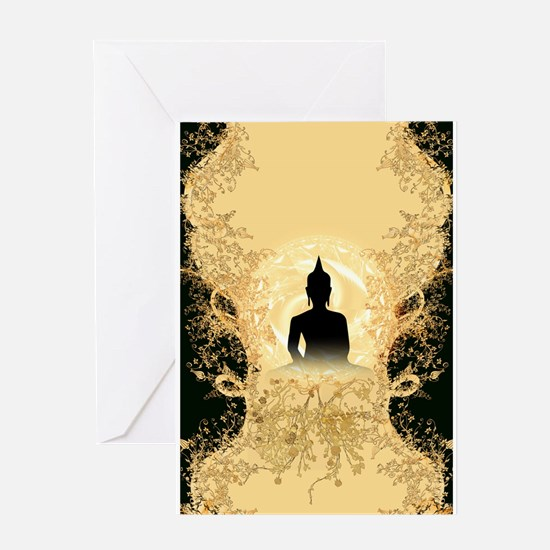 Buddha on gold black background Greeting Cards