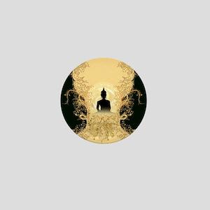 Buddha on gold black background Mini Button