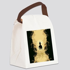 Buddha on gold black background Canvas Lunch Bag