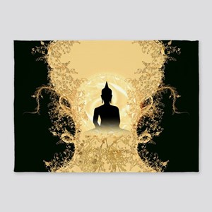 Buddha on gold black background 5'x7'Area Rug