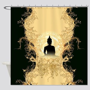 Buddha on gold black background Shower Curtain
