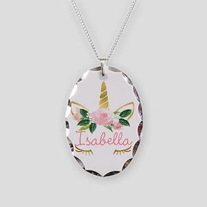 Sleeping Unicorn Personalize Necklace Oval Charm