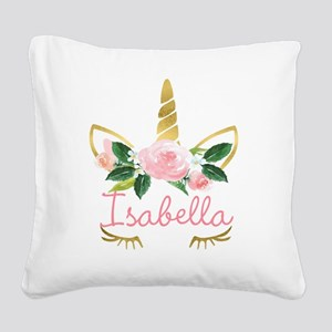sleeping unicorn personalize Square Canvas Pillow