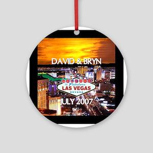 David & Bryn Personalized Vegas Ornament (Round)