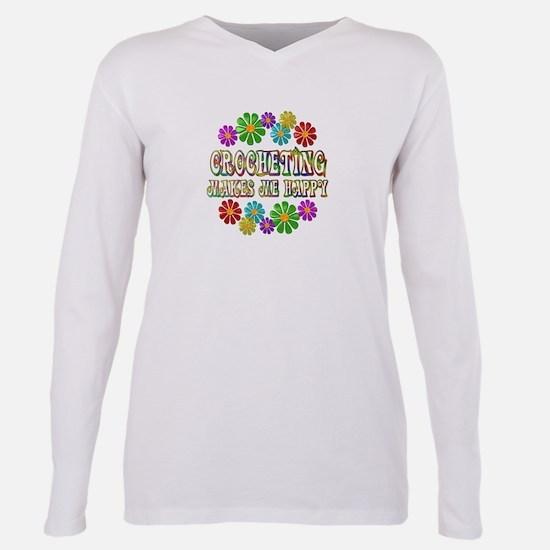 Crocheting Happy Plus Size Long Sleeve Tee