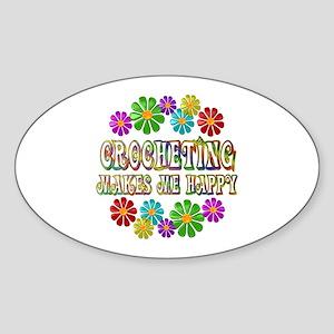 Crocheting Happy Sticker (Oval)