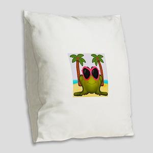 Frog on the Beach Burlap Throw Pillow