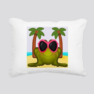 Frog on the Beach Rectangular Canvas Pillow