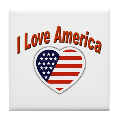 I Love America USA Tile Coaster