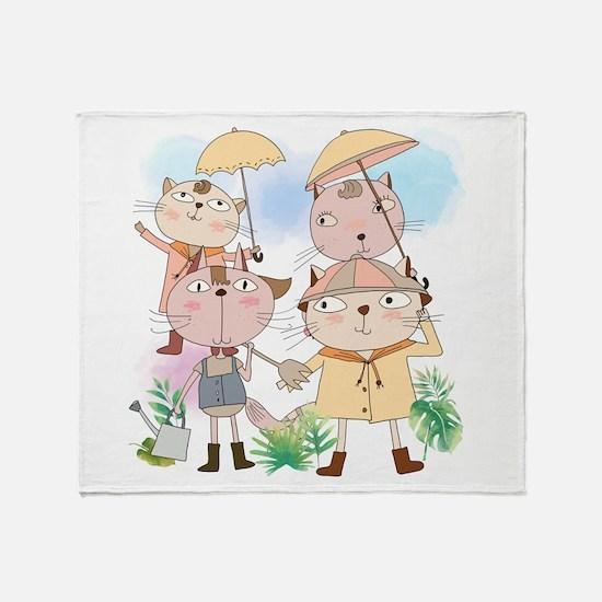 Cartoon Cats Summer Showers Throw Blanket
