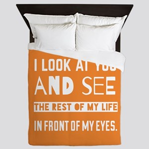 Love Quote For Bride and Groom Queen Duvet