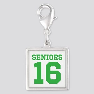 SENIORS 16 - GREEN Silver Square Charm