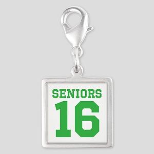 SENIORS 16 - GREEN Silver Square Charm