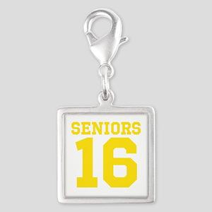 SENIORS 16 - YELLOW Silver Square Charm