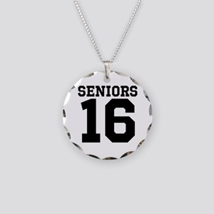 SENIORS 16 - BLACK Necklace Circle Charm