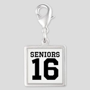SENIORS 16 - BLACK Silver Square Charm