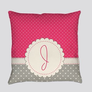 Cute Monogram Letter J Everyday Pillow