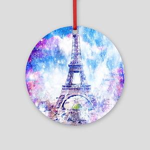 Rainbow Universe Paris Round Ornament