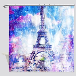 Rainbow Universe Paris Shower Curtain