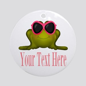 Frog in Pink Sunglasses Custom Round Ornament