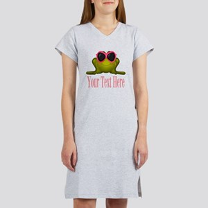 Frog in Pink Sunglasses Custom Women's Nightshirt