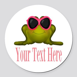 Frog in Pink Sunglasses Custom Round Car Magnet