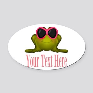 Frog in Pink Sunglasses Custom Oval Car Magnet