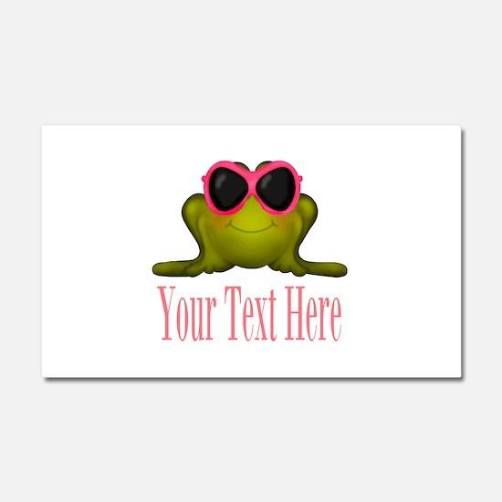 Frog in Pink Sunglasses Custom Car Magnet 20 x 12
