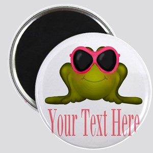 Frog in Pink Sunglasses Custom Magnets