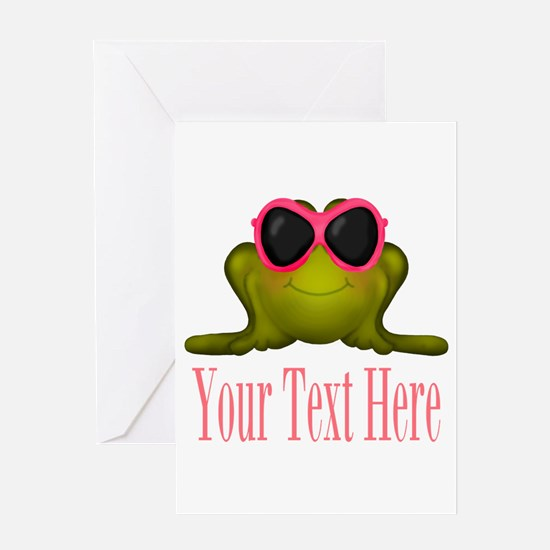 Frog in Pink Sunglasses Custom Greeting Cards