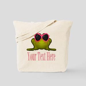Frog in Pink Sunglasses Custom Tote Bag
