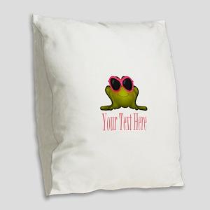 Frog in Pink Sunglasses Custom Burlap Throw Pillow