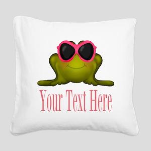 Frog in Pink Sunglasses Custom Square Canvas Pillo
