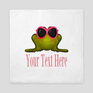Frog in Pink Sunglasses Custom Queen Duvet