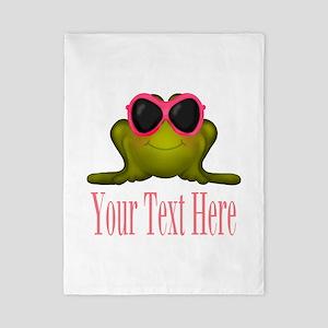 Frog in Pink Sunglasses Custom Twin Duvet