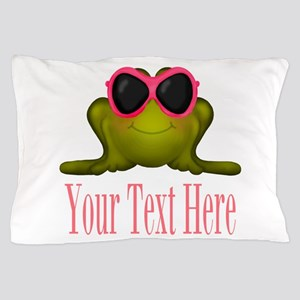 Frog in Pink Sunglasses Custom Pillow Case