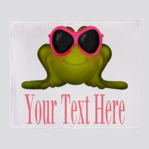 Frog in Pink Sunglasses Custom Throw Blanket