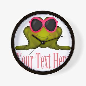 Frog in Pink Sunglasses Custom Wall Clock