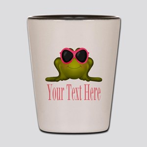 Frog in Pink Sunglasses Custom Shot Glass